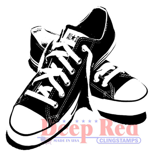 All Star Sneakers Rubber Cling Stamp by Deep Red Stamps