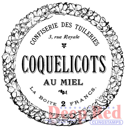 French Candy Label Rubber Cling Stamp by Deep Red Stamps
