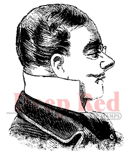 Victorian Man Profile Rubber Cling Stamp by Deep Red Stamps