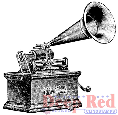 Gramophone Rubber Cling Stamp by Deep Red Stamps