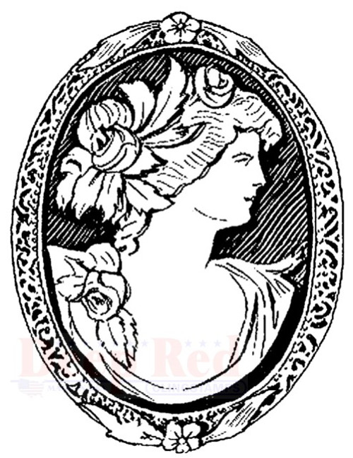 Cameo Brooch Rubber Cling Stamp by Deep Red Stamps