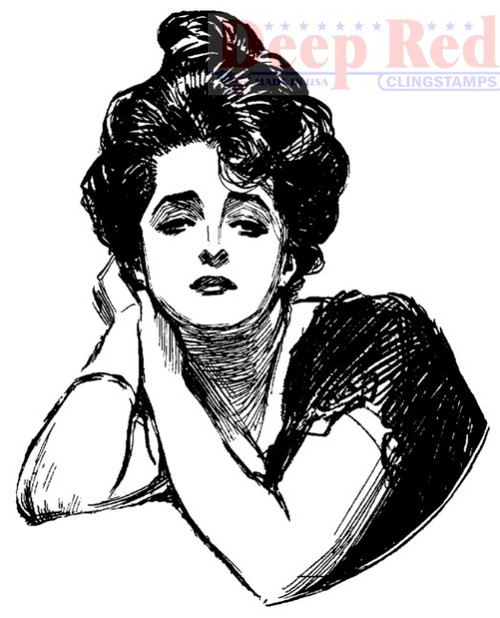 Gibson Girl Portrait Rubber Cling Stamp by Deep Red Stamps