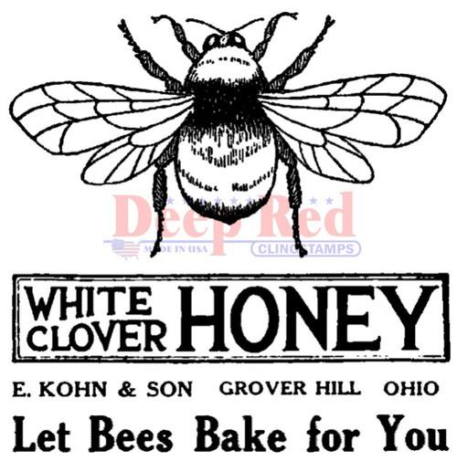 Honey Bee Vintage Label Rubber Cling Stamp