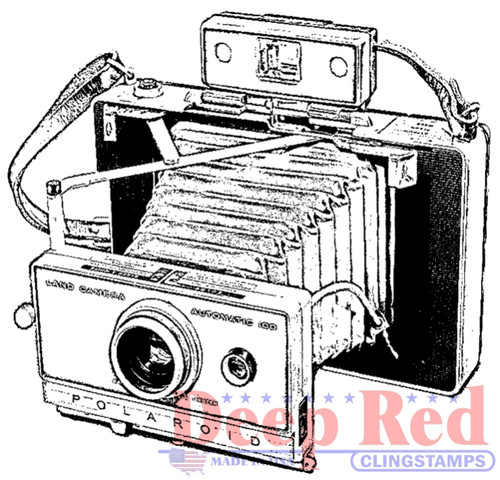 Polaroid Camera Rubber Cling Stamp by Deep Red Stamps