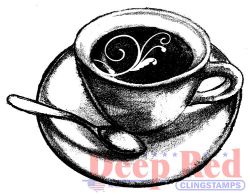 Flourish Latte Rubber Cling Stamp by Deep Red Stamps