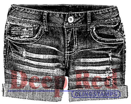 Denim Shorts Rubber Cling Stamp by Deep Red Stamps