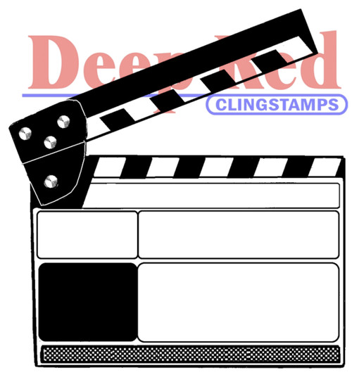 Movie Clapper Rubber Cling Stamp by Deep Red Stamps