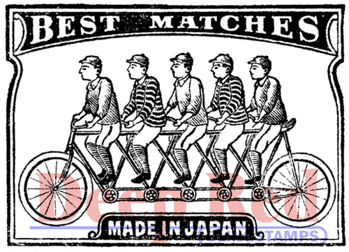 Matchbook Cover Rubber Cling Stamp by Deep Red Stamps