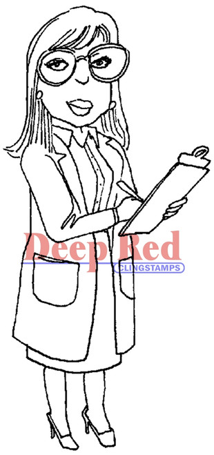 Lady Doctor Rubber Cling Stamp by Deep Red Stamps