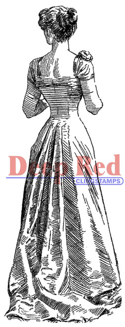 Victorian Evening Dress Rubber Cling Stamp by Deep Red Stamps