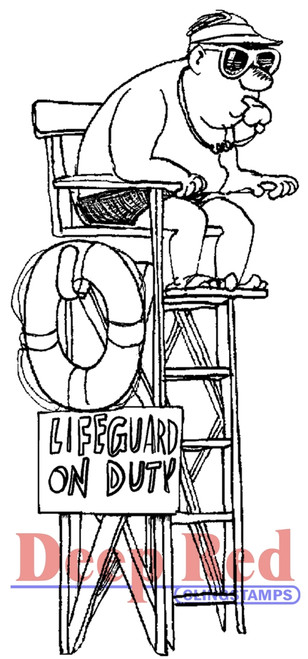 Lifeguard Rubber Cling Stamp by Deep Red Stamps