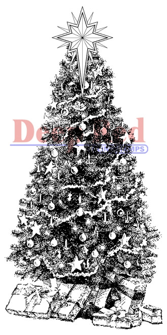 Decorated Christmas Tree Rubber Cling Stamp by Deep Red Stamps