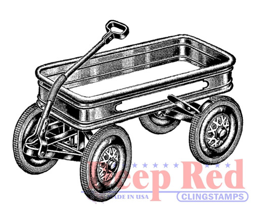 Little Red Wagon Rubber Cling Stamp by Deep Red Stamps
