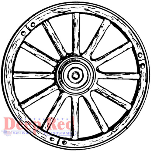 Wagon Wheel Rubber Cling Stamp by Deep Red Stamps