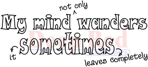 My Mind Wanders Rubber Cling Stamp by Deep Red Stamps