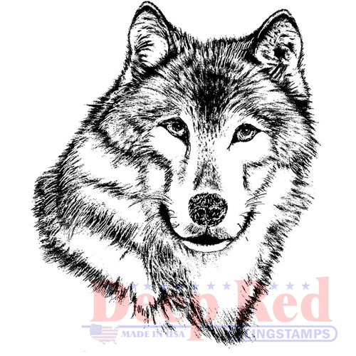 Wolf Portrait Rubber Cling Stamp by Deep Red Stamps