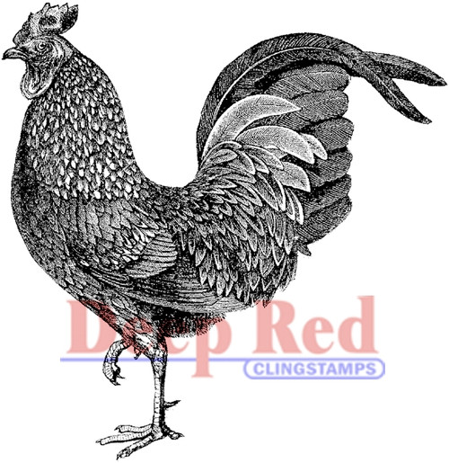 Rooster rubber clingstamp