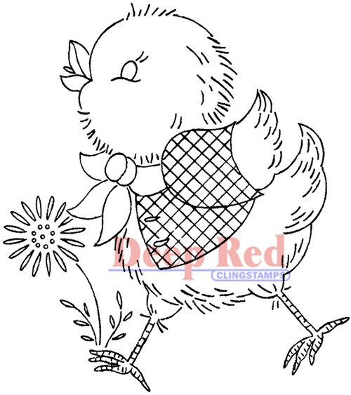 Spring Chicken Rubber Cling Stamp by Deep Red Stamps