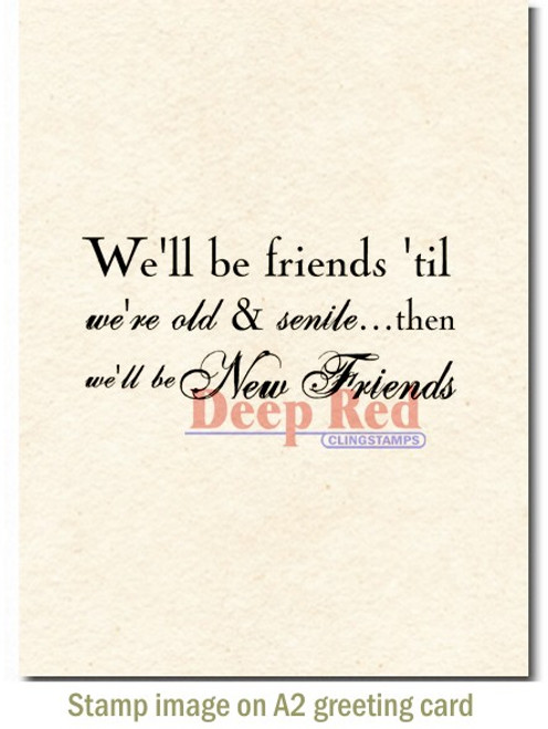 Old and New Friends Rubber Cling Stamp by Deep Red Stamps shown on A2 card