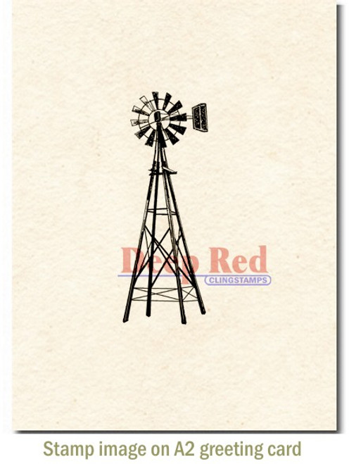 Farmers Windmill Rubber Cling Stamp by Deep Red Stamps shown on A2 card