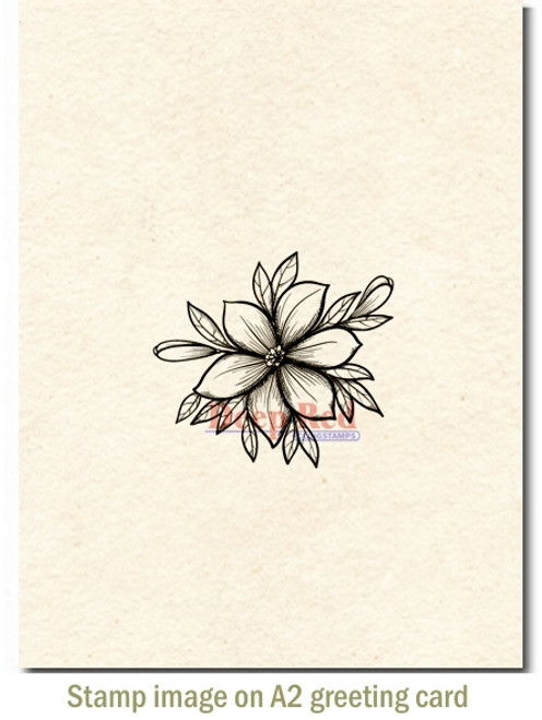 Lily Blossom Rubber Cling Stamp by Deep Red Stamps shown on A2 card