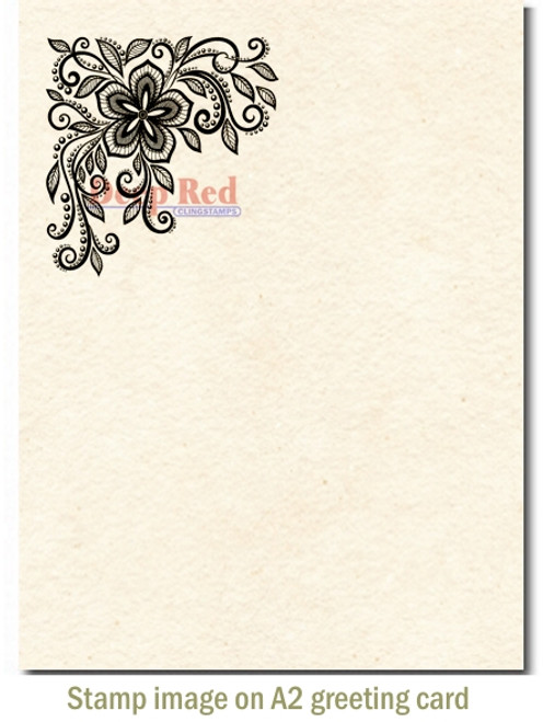 Lace Flower Corner Rubber Cling Stamp by Deep Red Stamps shown on A2 card
