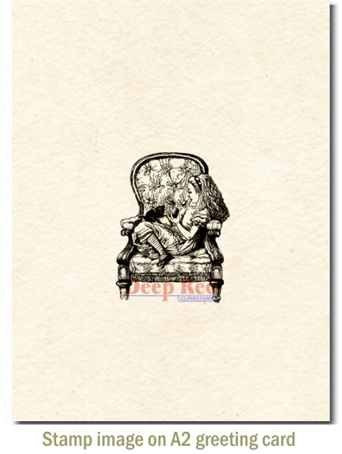 Alice in Armchair Rubber Cling Stamp by Deep Red Stamps shown on A2 card