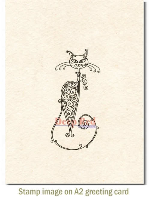 Fancy Cat Rubber Cling Stamp by Deep Red Stamps shown on A2 card