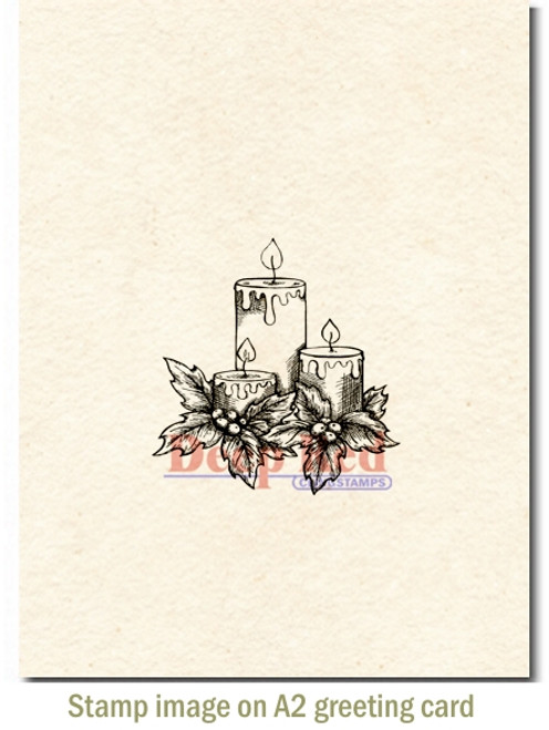 Holiday Candles Rubber Cling Stamp by Deep Red Stamps shown on A2 card