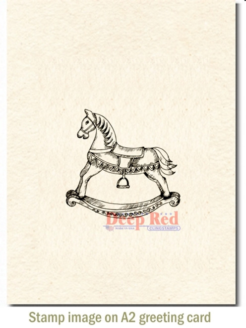 Rocking Horse Rubber Cling Stamp by Deep Red Stamps shown on A2 card