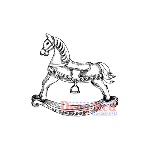 Rocking Horse Rubber Cling Stamp