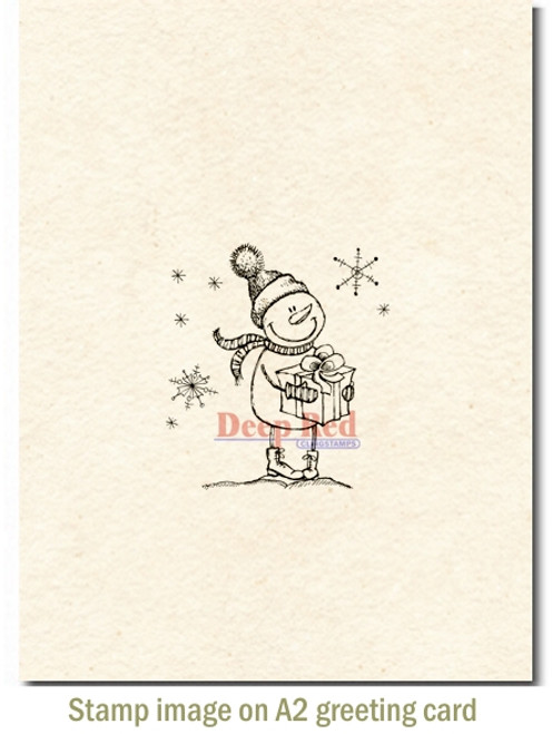 Snow Boy with Gift Rubber Cling Stamp by Deep Red Stamps shown on A2 card