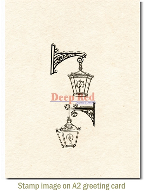 Winter Lanterns Rubber Cling Stamp by Deep Red Stamps shown on A2 card