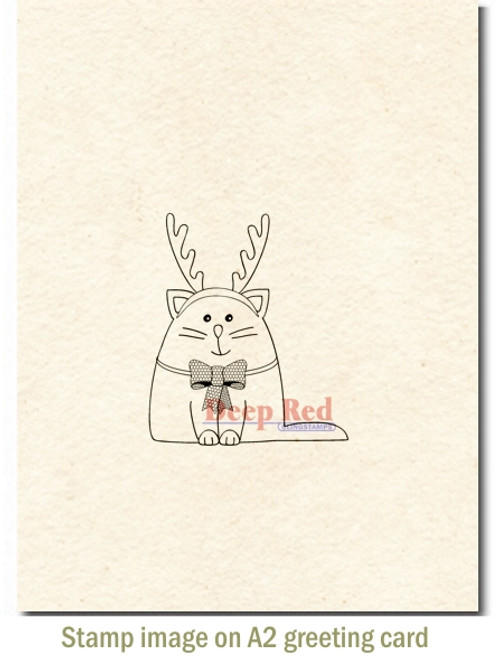 Meowy Christmas Rubber Cling Stamp by Deep Red Stamps shown on A2 card