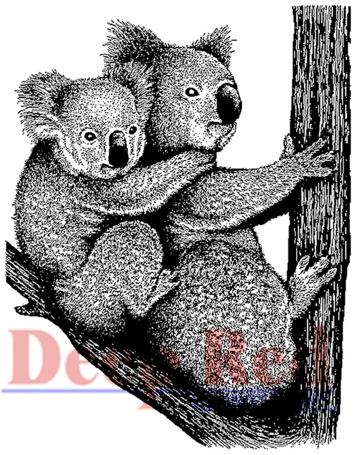 Koala with Baby  Rubber Cling Stamp by Deep Red Stamps