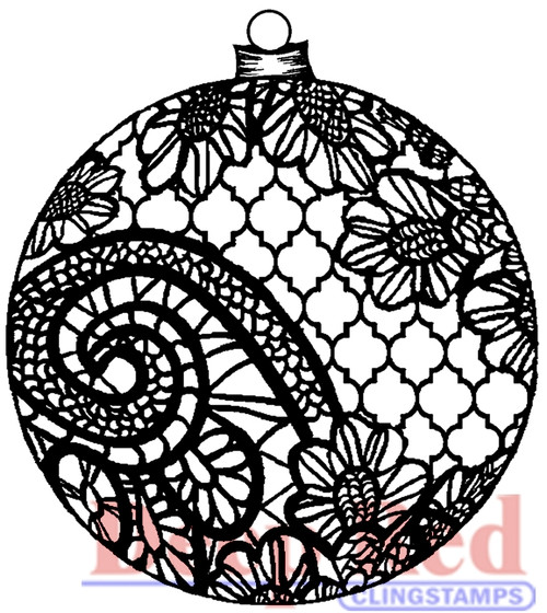 Lace Ornament Rubber Cling Stamp