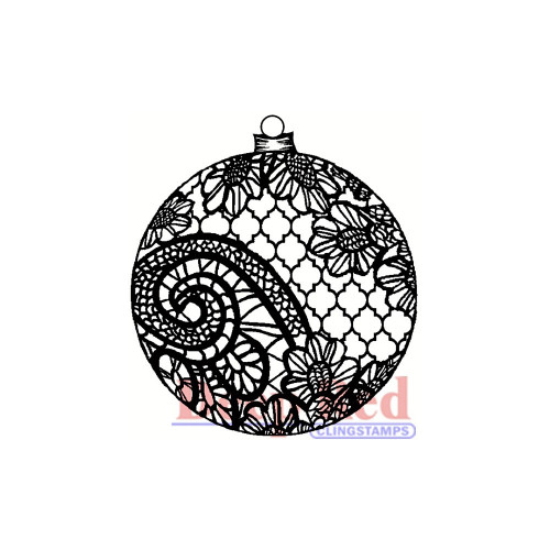 Deep Red Stamps Lace Ornament Rubber Cling Stamp