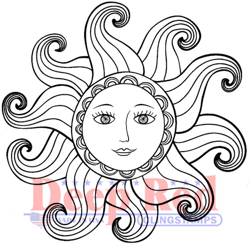 Miss Sunshine Rubber Cling Stamp by Deep Red Stamps