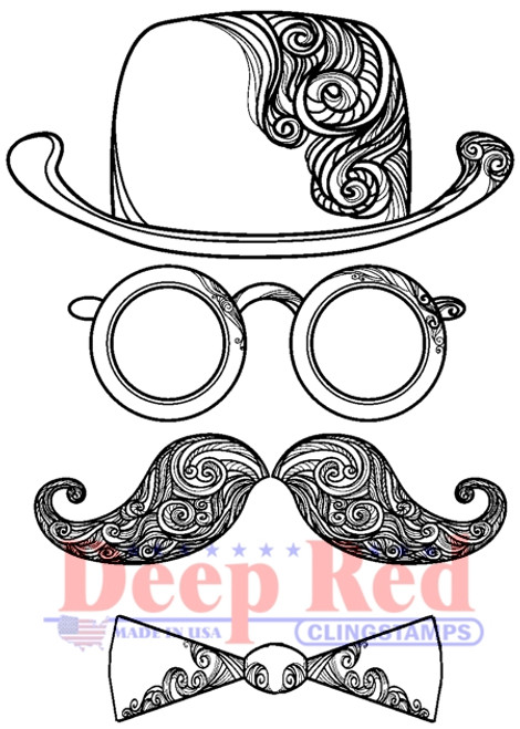 Man of Mystery Rubber Cling Stamp by Deep Red Stamps