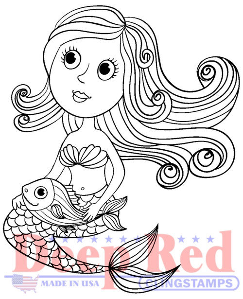 Cute Little Mermaid Rubber Cling Stamp by Deep Red Stamps