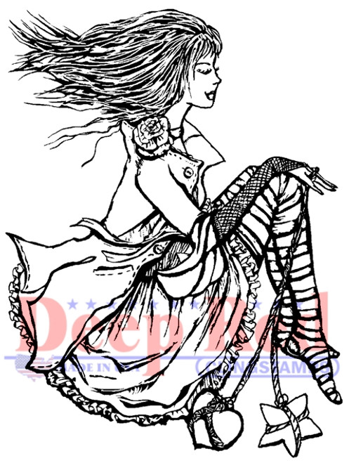 Emo Girl Rubber Cling Stamp by Deep Red Stamps