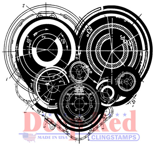 Mechanical Heart Rubber Cling Stamp by Deep Red Stamps