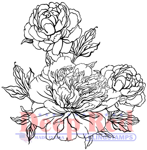 Carnation Blooms Rubber Cling Stamp by Deep Red Stamps