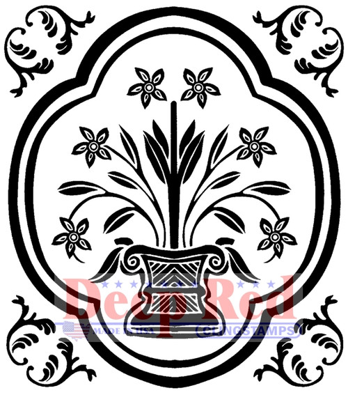 Folk Vase Accent Rubber Cling Stamp by Deep Red Stamps