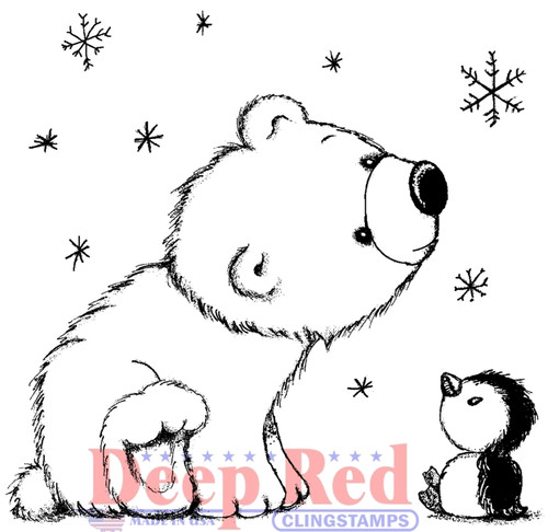 Polar Friends Rubber Cling Stamp by Deep Red Stamps