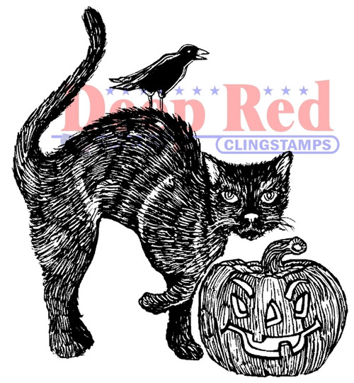 Spooky Cat Rubber Cling Stamp by Deep Red Stamps