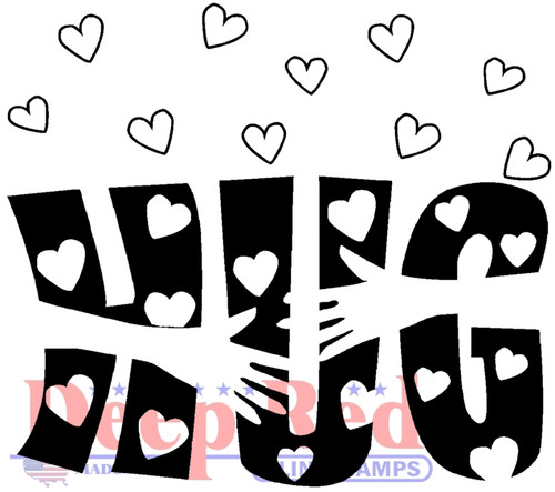 Heartfelt Hug Rubber Cling Stamp by Deep Red Stamps