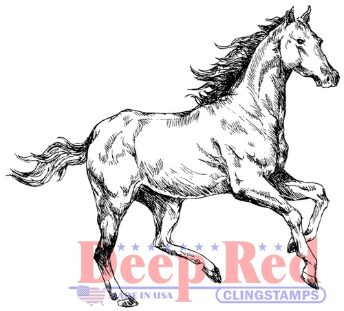 Spirited Horse Rubber Cling Stamp by Deep Red Stamps