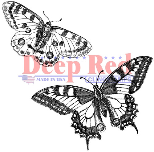 Butterflies Pair Rubber Cling Stamp by Deep Red Stamps