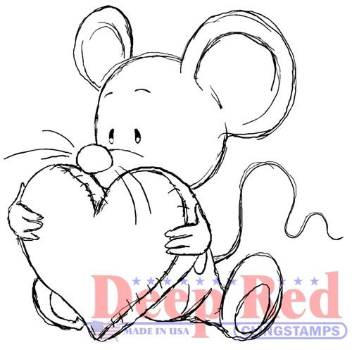 Big Heart Mousie Rubber Cling Stamp by Deep Red Stamps